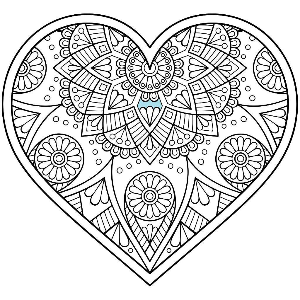 1 Image By Saranda Smith Heart Coloring Pages Mandala Coloring