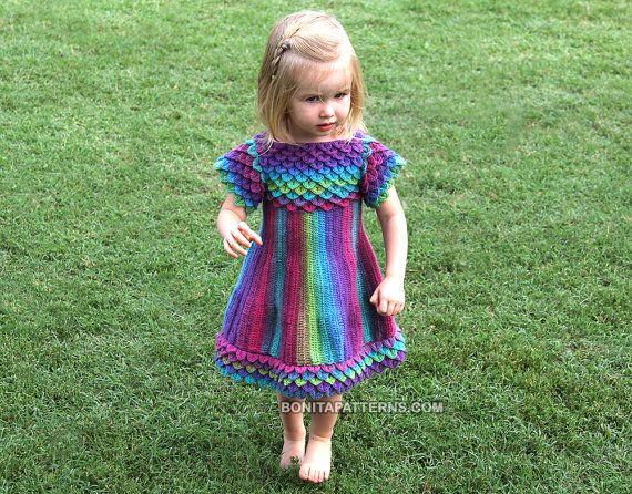 CROCHET PATTERN: Crocodile Stitch Girly Dress  por bonitapatterns