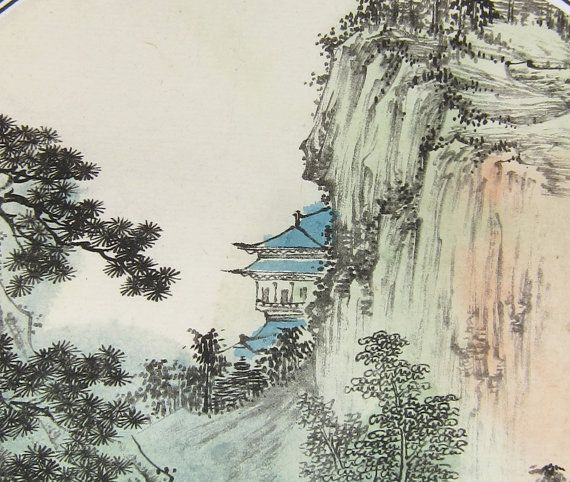 Mountain Buddhist Temple Vintage Art Print From By Happyeight
