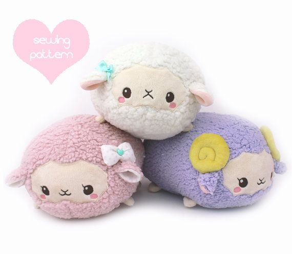 PDF sewing pattern - Sheep Roll plush stacking loaf plushie with ...