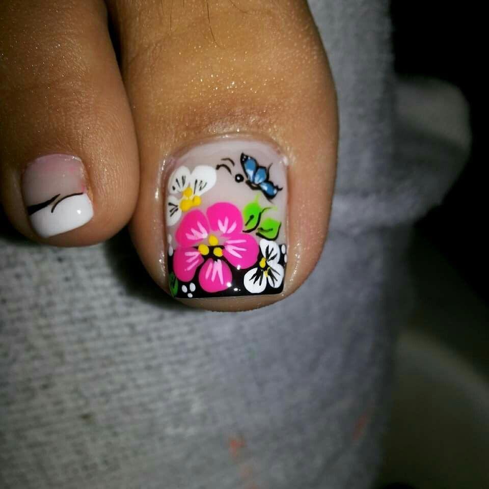 Colorful floral toes | Pedicura | Pinterest | Diseños de uñas ...