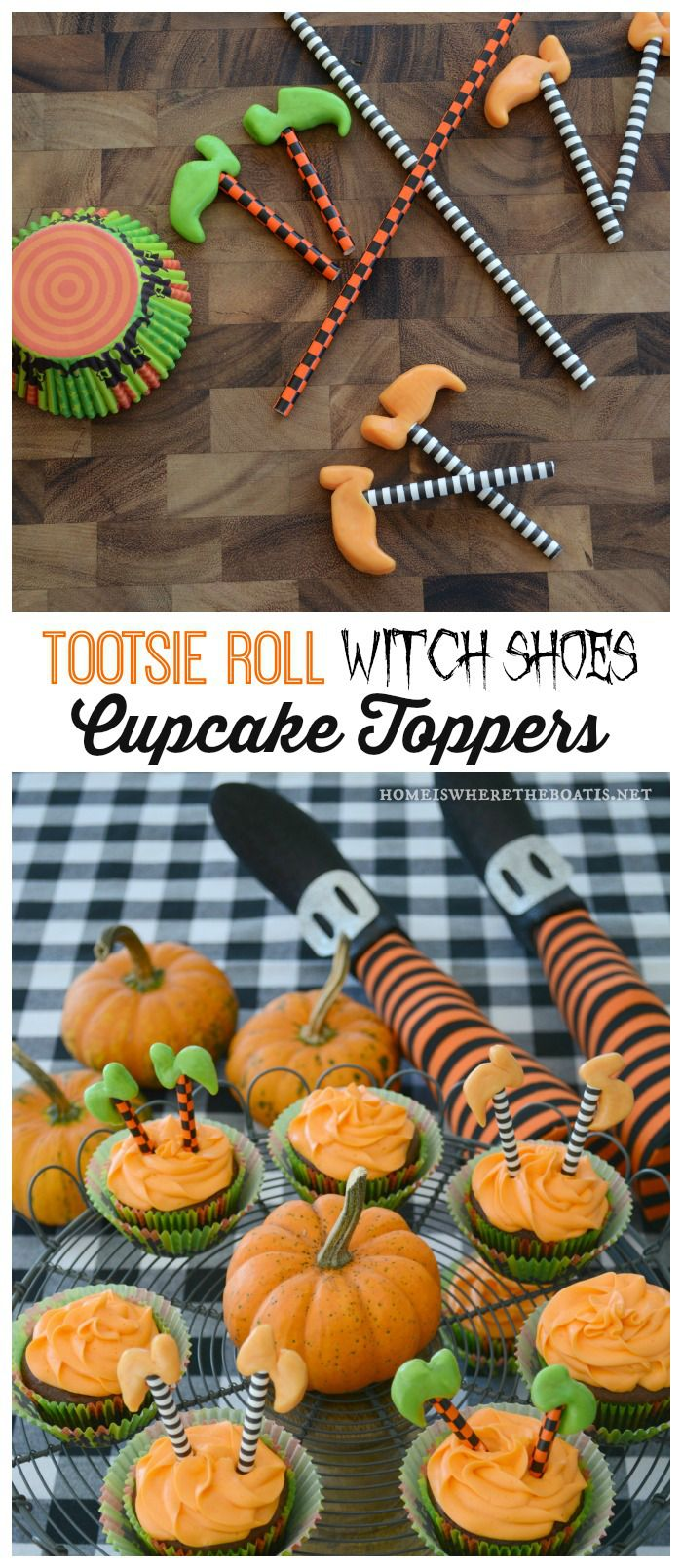 Tootsie Roll Witch Shoe Cupcake Toppers | homeiswheretheboatis.net #halloween