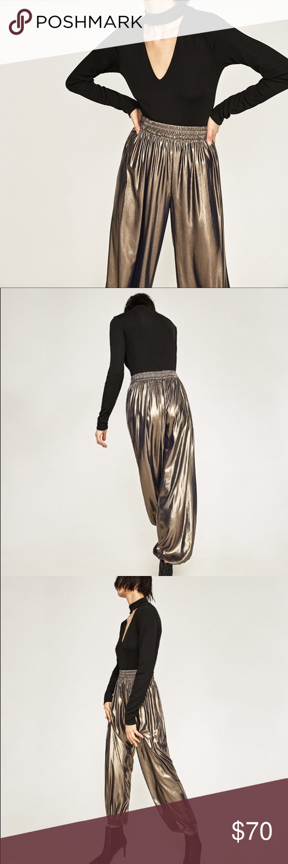 Zara Metallic Trousers New, with tags! Original price: $99 Zara Pants Track Pants & Joggers