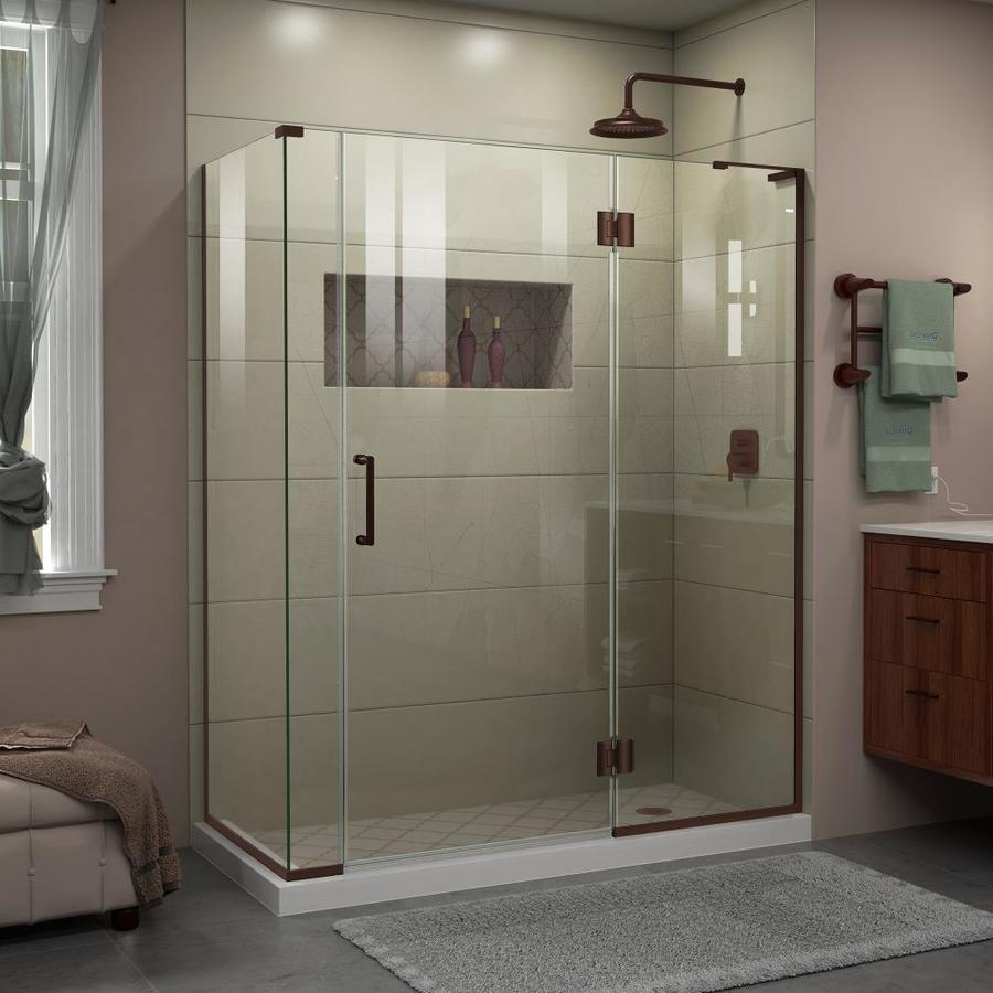 Dreamline Unidoor X 72 In H X 57 In To 57 In W Frameless Hinged Oil Rubbed Bronze Shower Door E3270634r 06 In 2020 Shower Doors Frameless Shower Enclosures Frameless Shower
