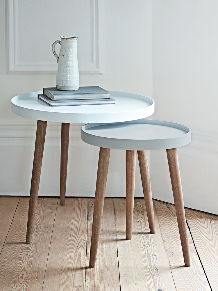 With Three Scandinavian Style White Cedar Legs And A Smooth Modern Painted Lipped Top Our Lina