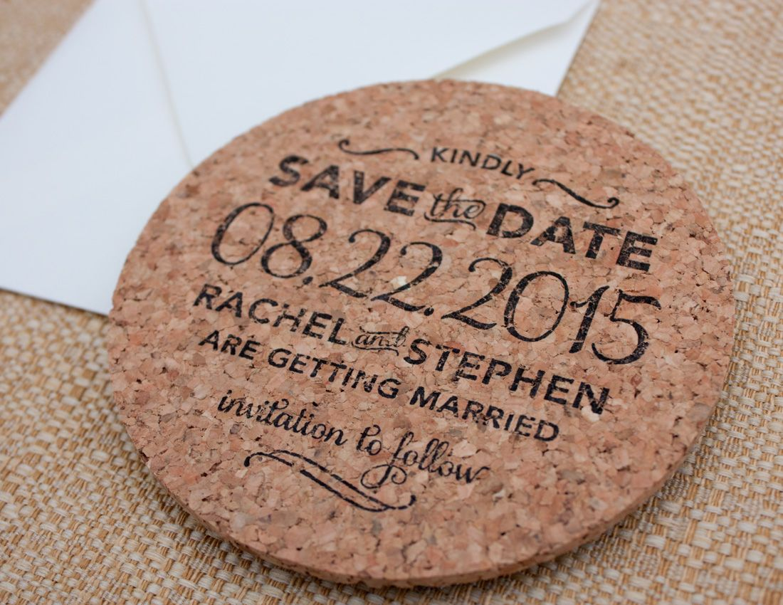Hand Stamped Cork Coaster Save The Date