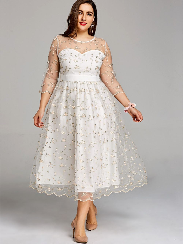 Plus Size Sheer Embroidery Tiny Floral Tulle Dress Plus Size Party Dresses Tea Length Dresses Big Size Dress [ 1330 x 1000 Pixel ]