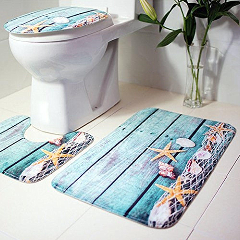 3Pcs Beach Conch Bath Pad Bathroom Non Slip Pedestal Rug Mat+Room Floor Carpet