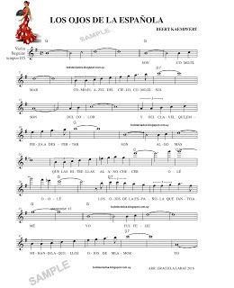 Los Ojos De La Española Bert Kaempfert Partitura Para Guitarra Partituras Piano Partituras