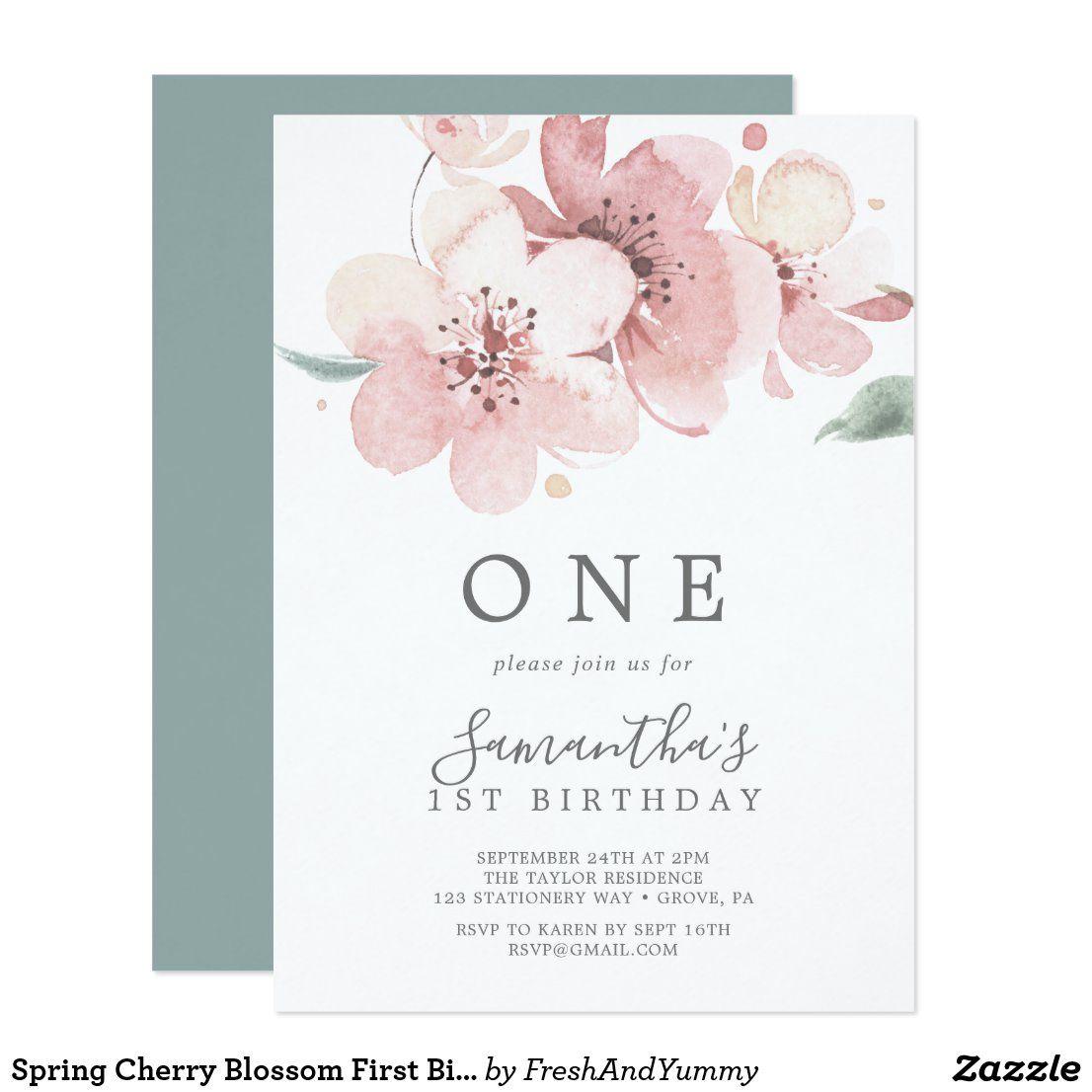 Spring Cherry Blossom First Birthday Party Invitation Zazzle Com In 2020 Birthday Party Invitations Blossom Invitation Floral Birthday Party