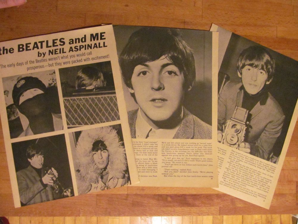 The Beatles, Three Page Vintage Clipping, Neil Aspinall, Great Photos