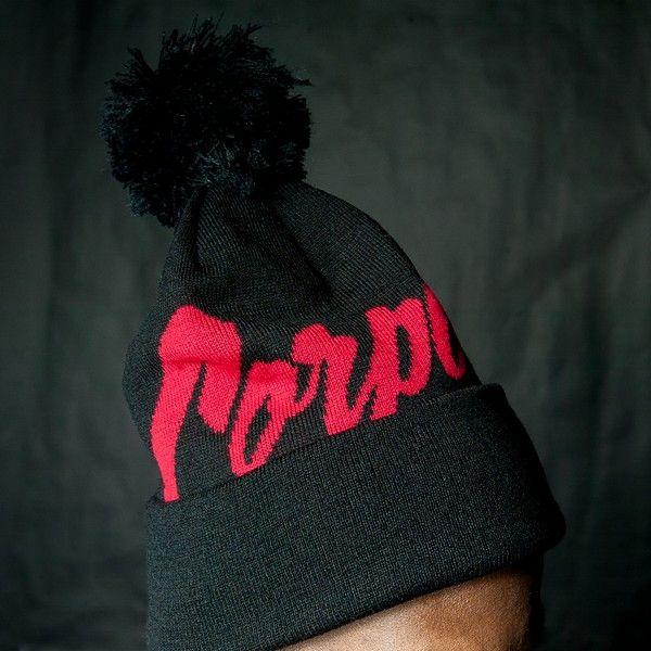 Corporate X Mitchell & Ness Pom Beanie (Black/Red) $30