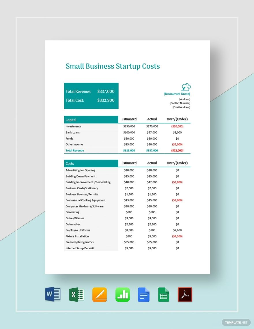 Small Business Start Up Costs Template Free Pdf Word Excel Apple Pages Google Docs Google Sheets Apple Numbers Small Business Start Up Business Plan Template Word Bookkeeping Templates Business plan startup costs template