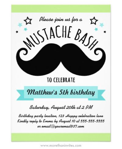 mustache bash birthday party invitation lime green and aqua blue - Mustache Party Invitations