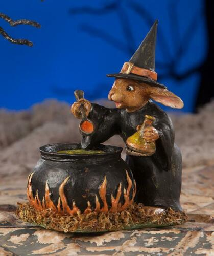 Details about Rabbit Witch w Cauldron Halloween Figurine