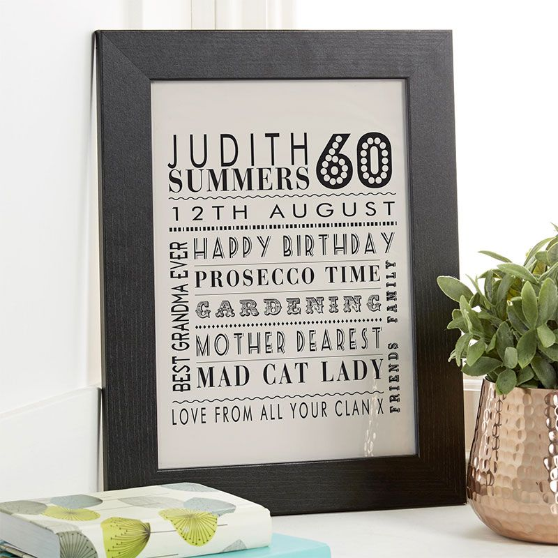 60th birthday gift for her of personalised age print with