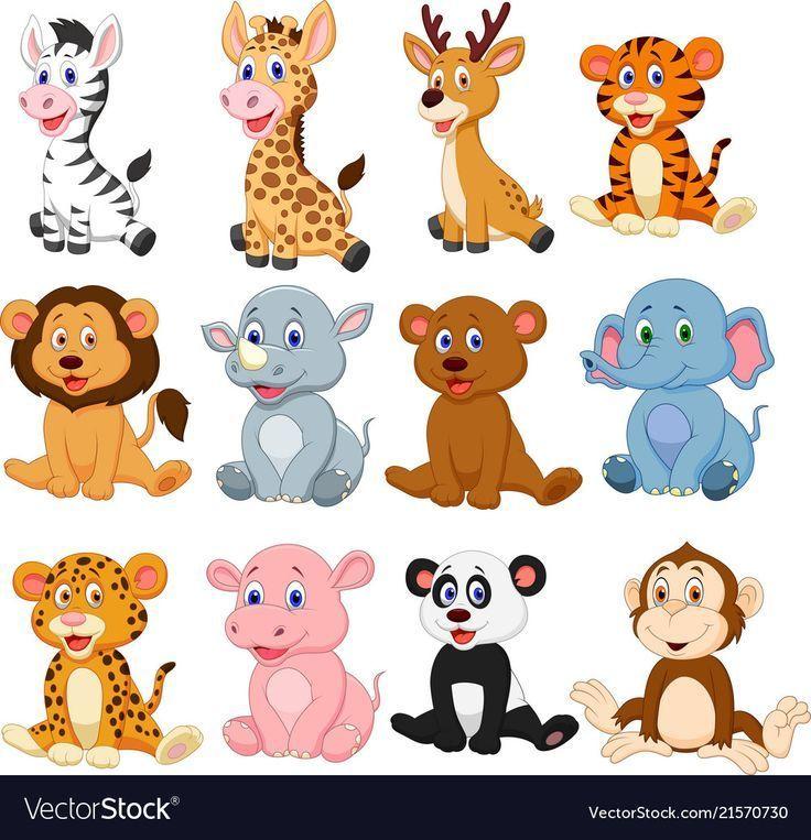 Vektorillustration Des Karikatur Sammlungssatzes Der Wilden Tiere Laden Sie Ein Der Hayvan Kartlari Hayvan Yuzleri Cok Sirin Hayvanlar