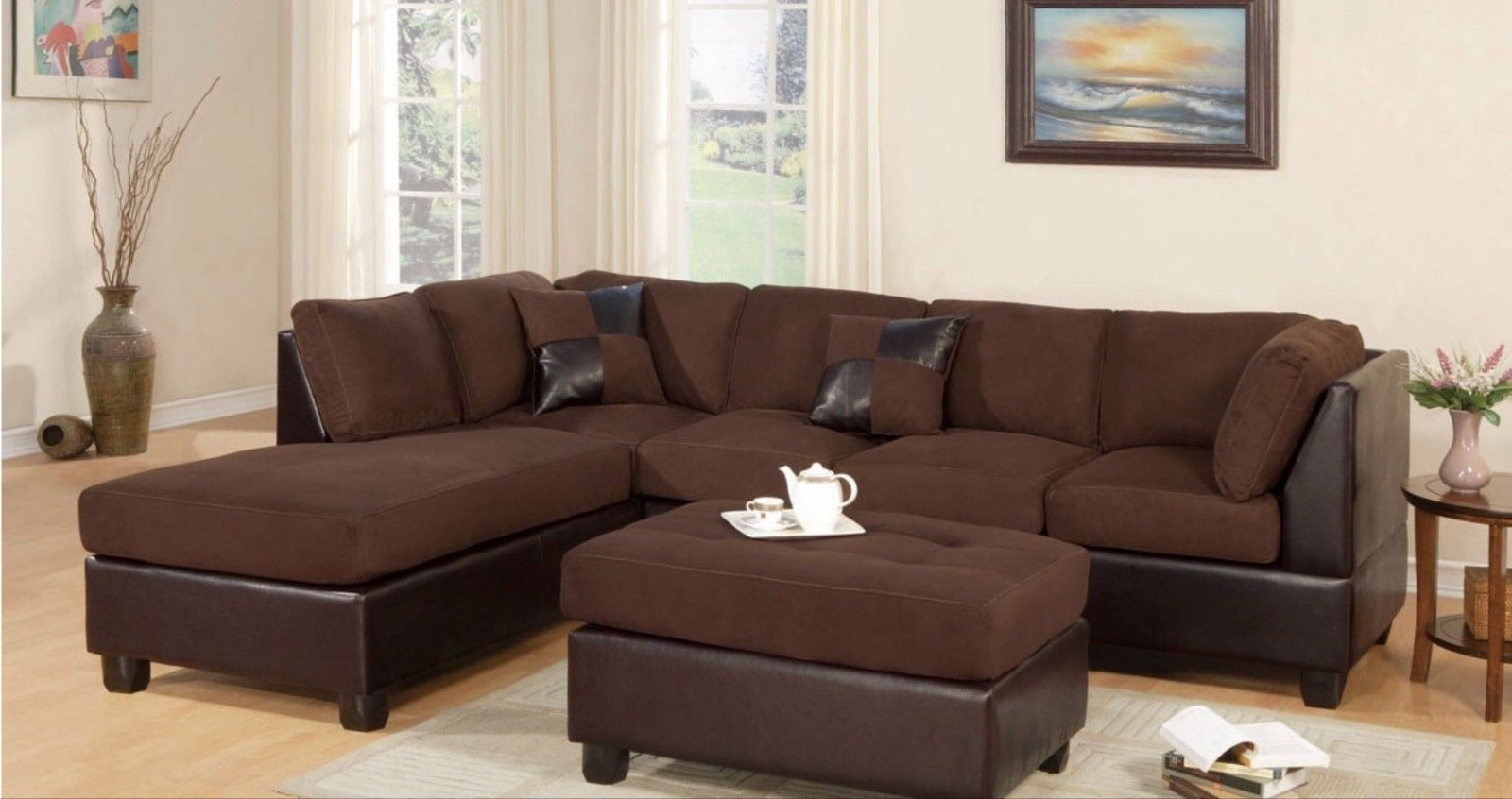 Sectional Sofa Modern Fabric Microfiber Faux Leather Sectional Sofa 3pc 6 Colors Availble Couch Fur Modern Sofa Sectional Brown Sectional Sofa Sectional Sofa