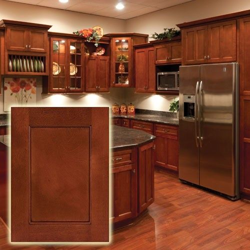 Modern Flat Panel Shaker Style Red Cherry Wood Kitchen