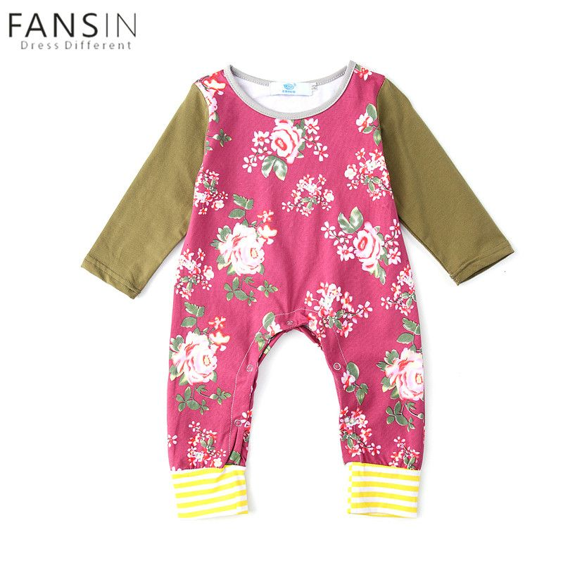 cc88a6ce1c26 Newborn Baby Girls Floral Romper Cotton Long-sleeved One Piece ...