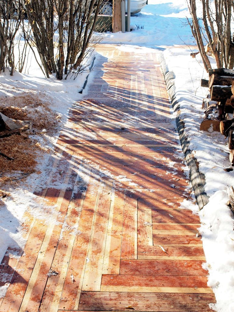 How to build an awesome sidewalk with recycled lumber for for Wooden walkway plans