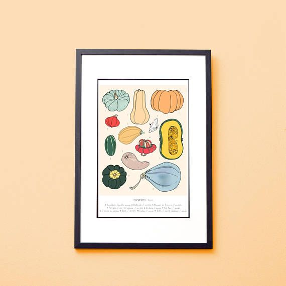 Set of 2 Botanical Prints: Pumpkins Kitchen Wall Decor | Travel ...