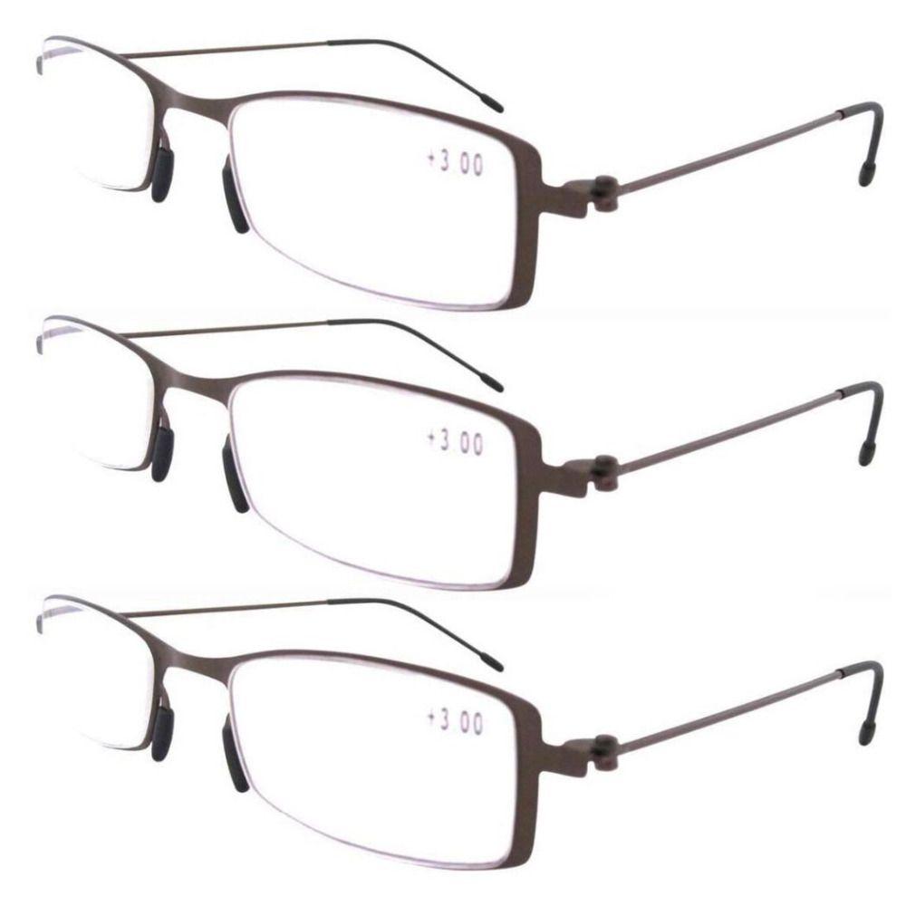 88b00810d0b R12005 Eyekepper Brown 3-Pack Stainless Steel Frame Unique Lightweight  Reading Glasses+1