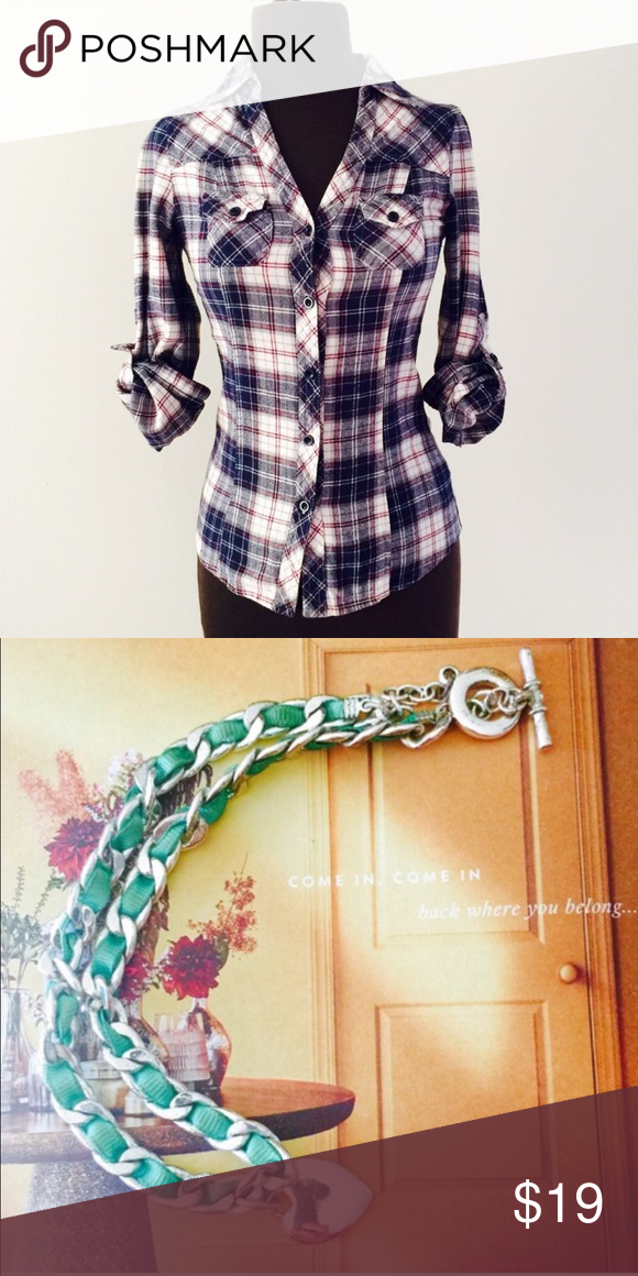 Bundle for Kate 1. forever 21 flannel top 2. Mint ribbon necklace See original listings for details. Forever 21 Tops