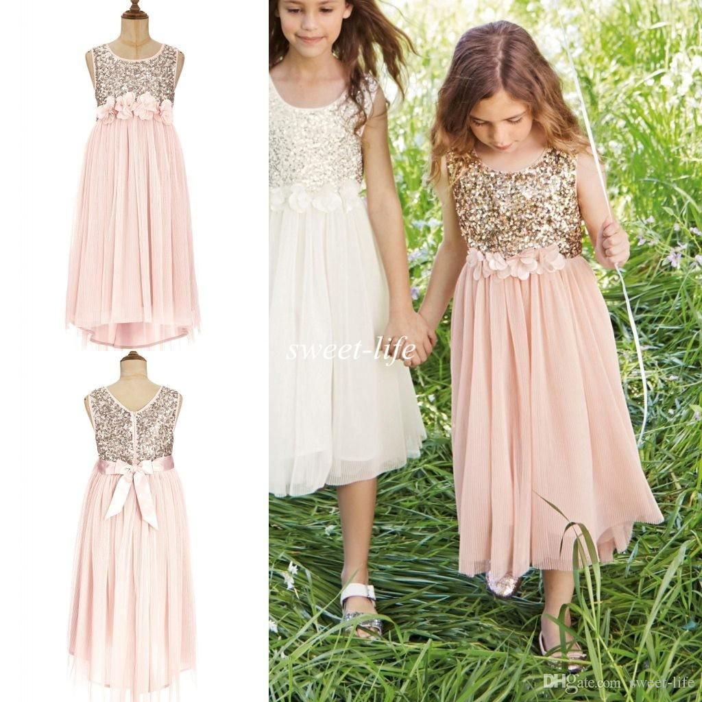2015 Blush Flower Girls Dresses Gold Sequins Hand Made Flower Sash Tea  Length Tulle Jewel A Line Kids Formal Dress Junior Bridesmaid Dress Online  with ... a2fb1fa49