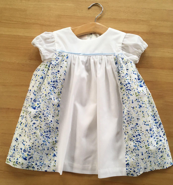 Designer Baby Girl Dress 18 Months - 2 Years - Handmade in the UK -  Handmade. White Blue Floral by BonitoBabyWear on Etsy 8e8be0086583