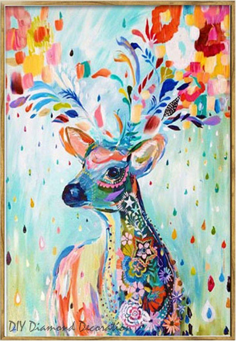 5d Coloured Reindeer Diamond Painting Diy Diamond Mosaic Picture Cross Stitch Kit Home Decor Bedroom Decor Study Room Decor Wall Decor In 2021 Art Painting Artsy