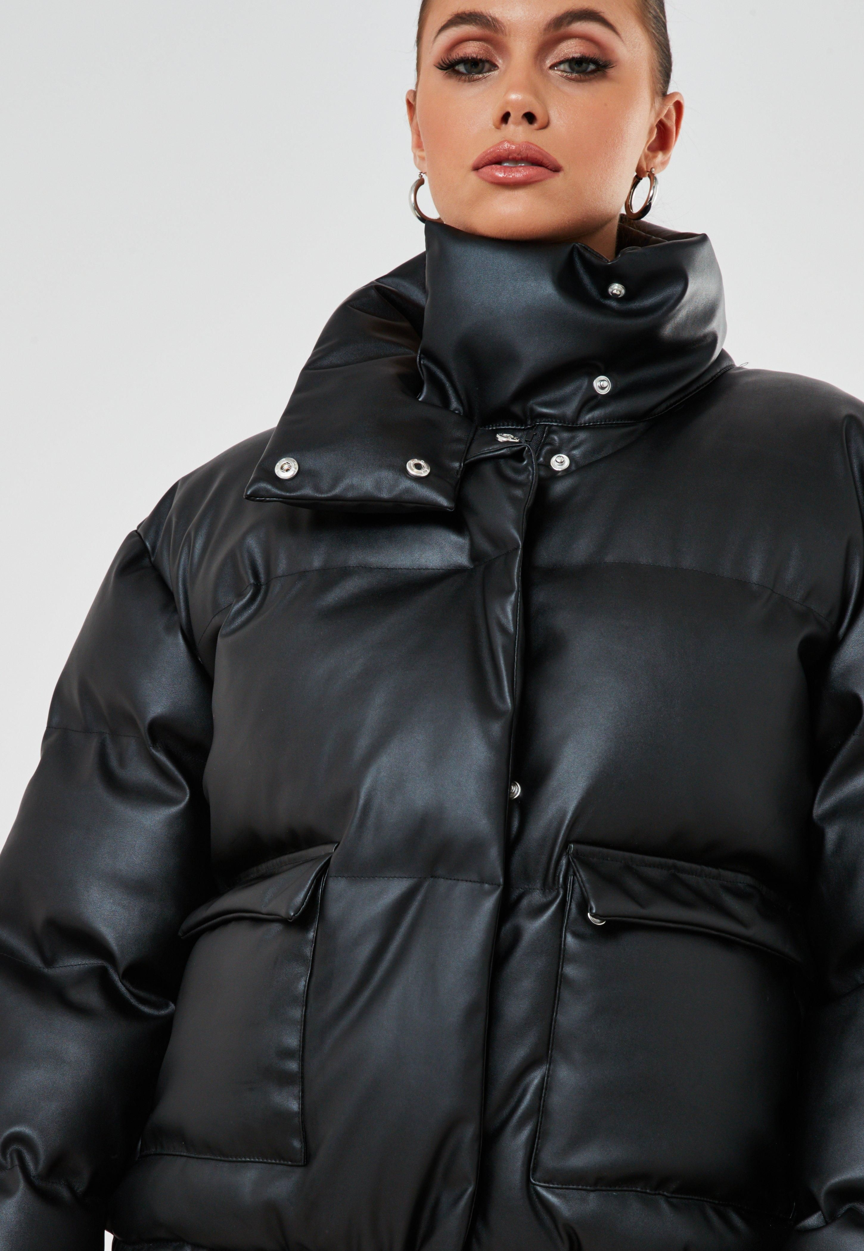 Black Faux Leather Puffer Jacket Sponsored Faux Sponsored Black Leather Puffer Jacket Outfit Puffer Jacket Women Leather Puffer Jacket [ 4200 x 2900 Pixel ]