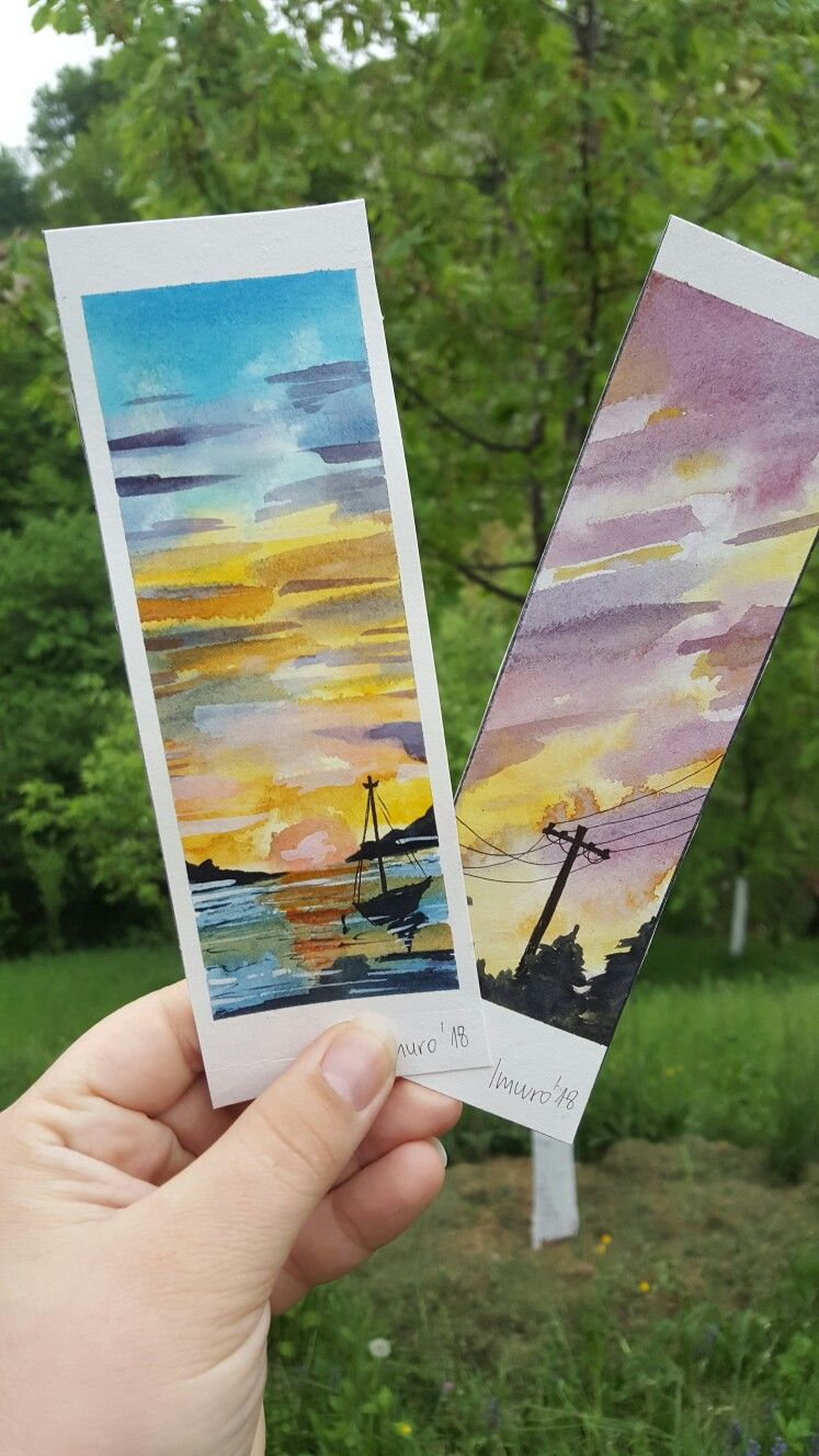 Simple Watercolor Bookmarks Made With Help Of A Youtube Video