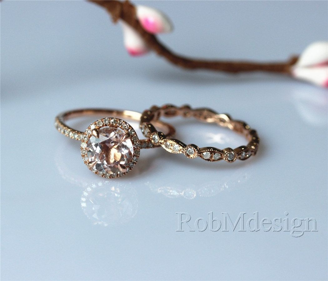 Morganite Engagement Ring Set 7mm Round Cut Morganite Ring Full