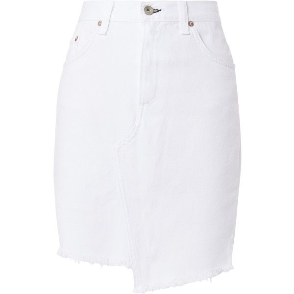 on sale online top brands value for money Dive High-Rise White Denim Skirt ($159) ❤ liked on Polyvore ...