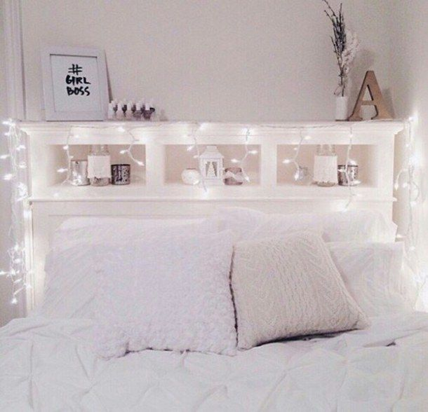 Charmant Cute Bedroom, Fairy Lights, White Bedroom Inspo, Bedroom Decor, Cozy Teen  Bedroom