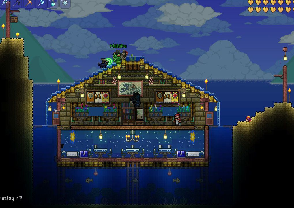 Fancy underground diner terraria base inspiration for Terraria house designs