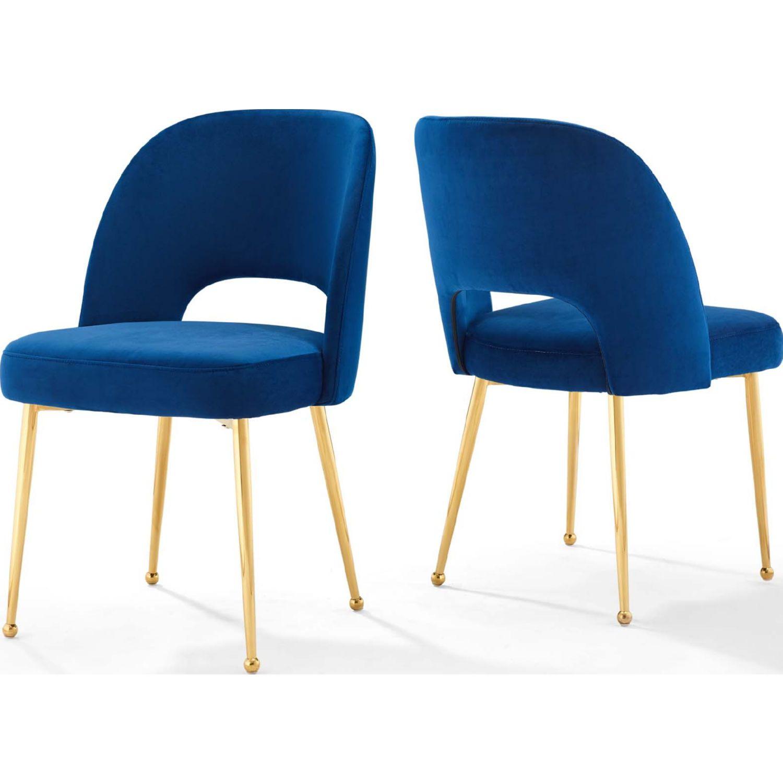 Modway Eei 4162 Nav Rouse Dining Chair Navy Blue Velvet Gold Metal