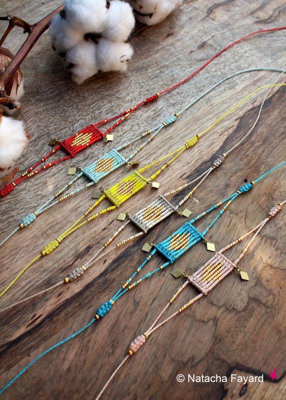Bright yellow and gold – Woven micro macrame and miyuki delica seed beads bracelet – Graphic diamond patterns – Boho chic designer jewelry