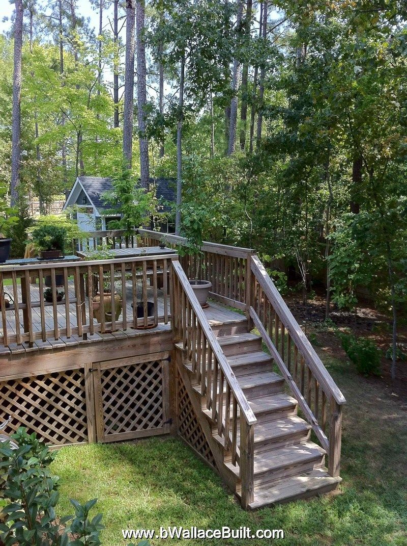 Large decks with wooded backyards | House landscape ... on ideas for muddy backyards, ideas for sloping backyards, ideas for sloped backyards,