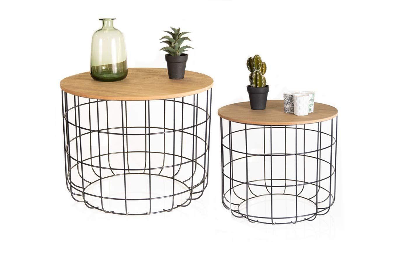Lifa Living Runde Couchtische Im 2er Set 2 Beistelltische Aus Schwarzem Metall Und Mdf Holz Vintage Stil In 2020 Couchtisch Rund Beistelltische Couchtische