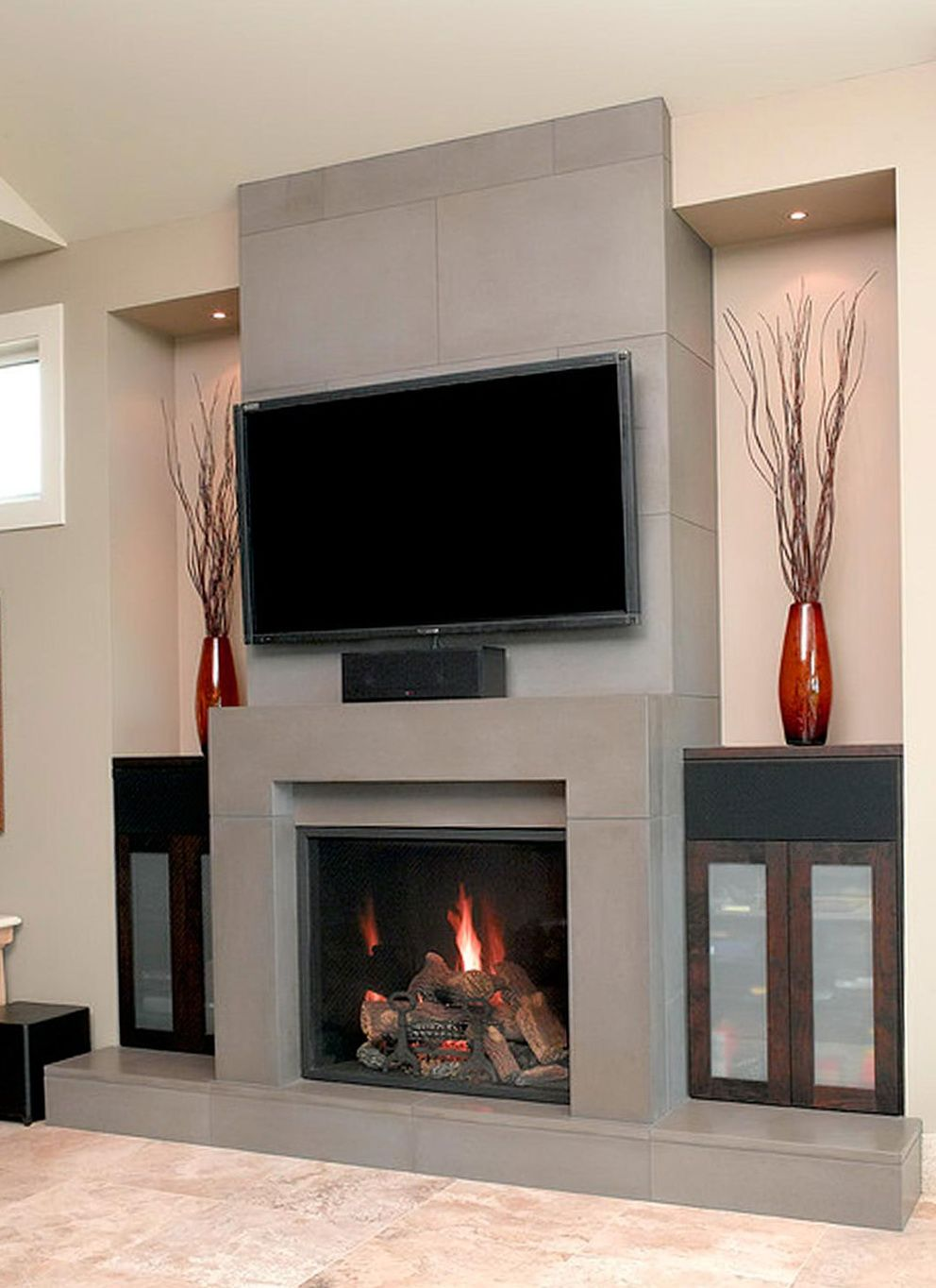Contemporary Fireplace Designs With Tv Above Home Design I
