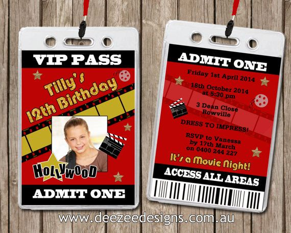 Photo Personalised Hollywood Movie VIP Lanyard Invitations x 10 - free vip pass template
