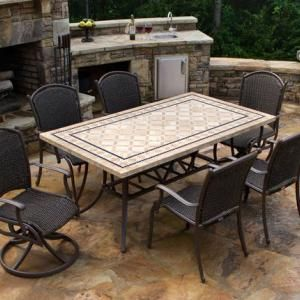 Square Stone Dining Table Set For Outdoor Patio