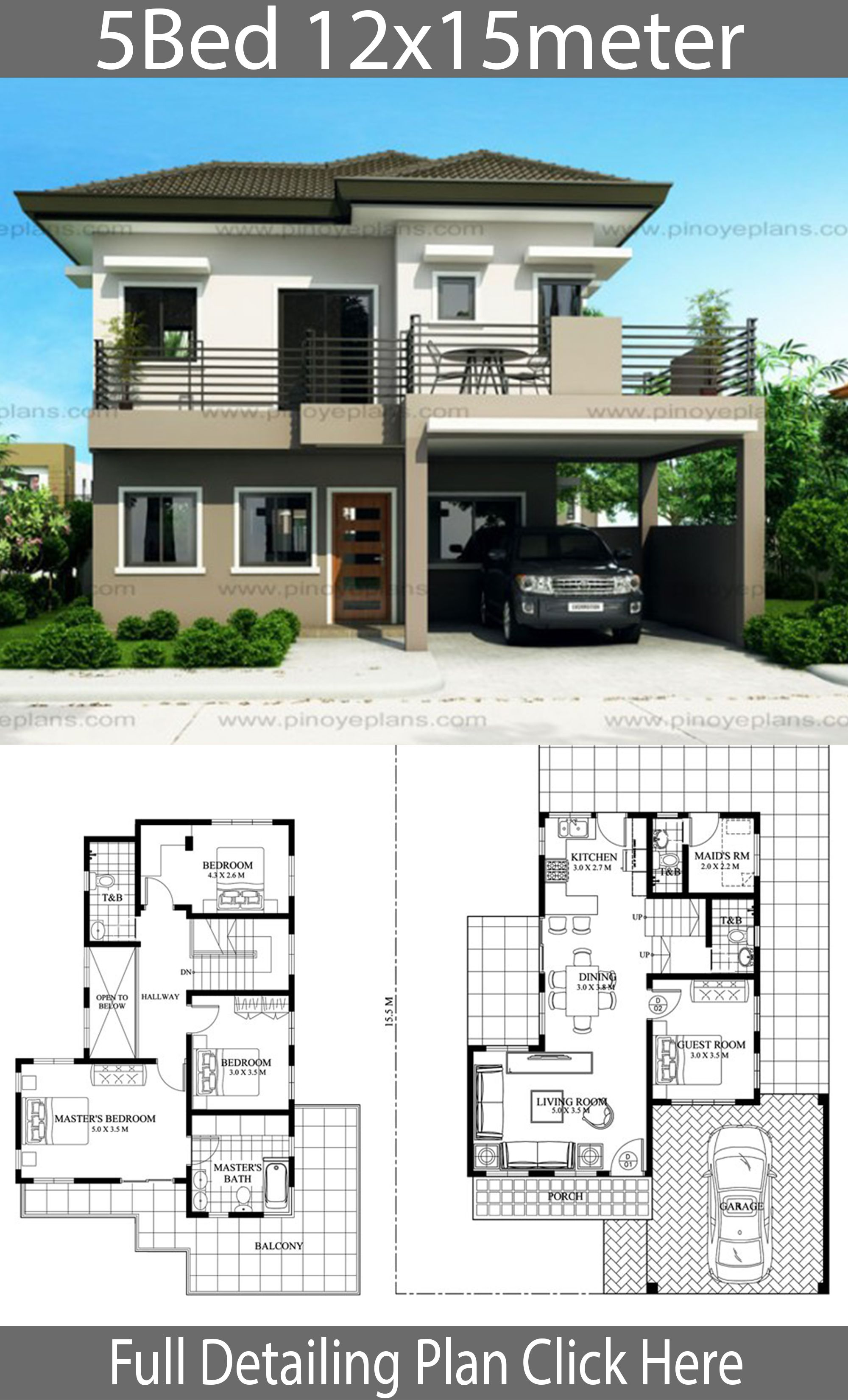 House Design 12x15m With 5 Bedrooms House Idea In 2020 House Floor Design House Construction Plan Duplex House Plans