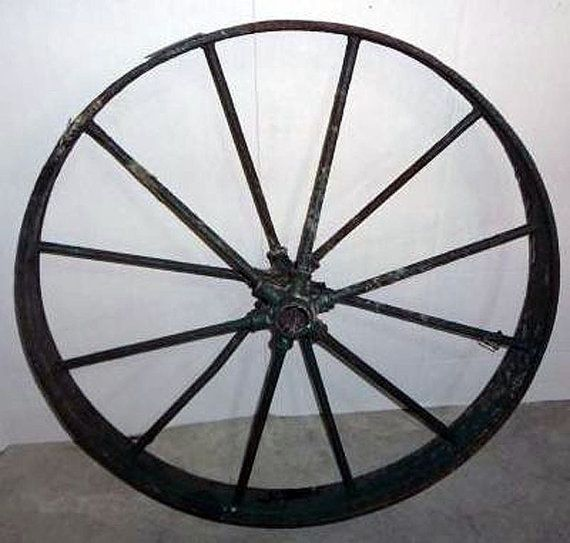 Antique 12 Spoke Cast Iron Wagon Wheel Steampunk Garden Art Yard Decor 26 Quot X6 Quot Steampunk Decor Antique Cast Iron Antiques