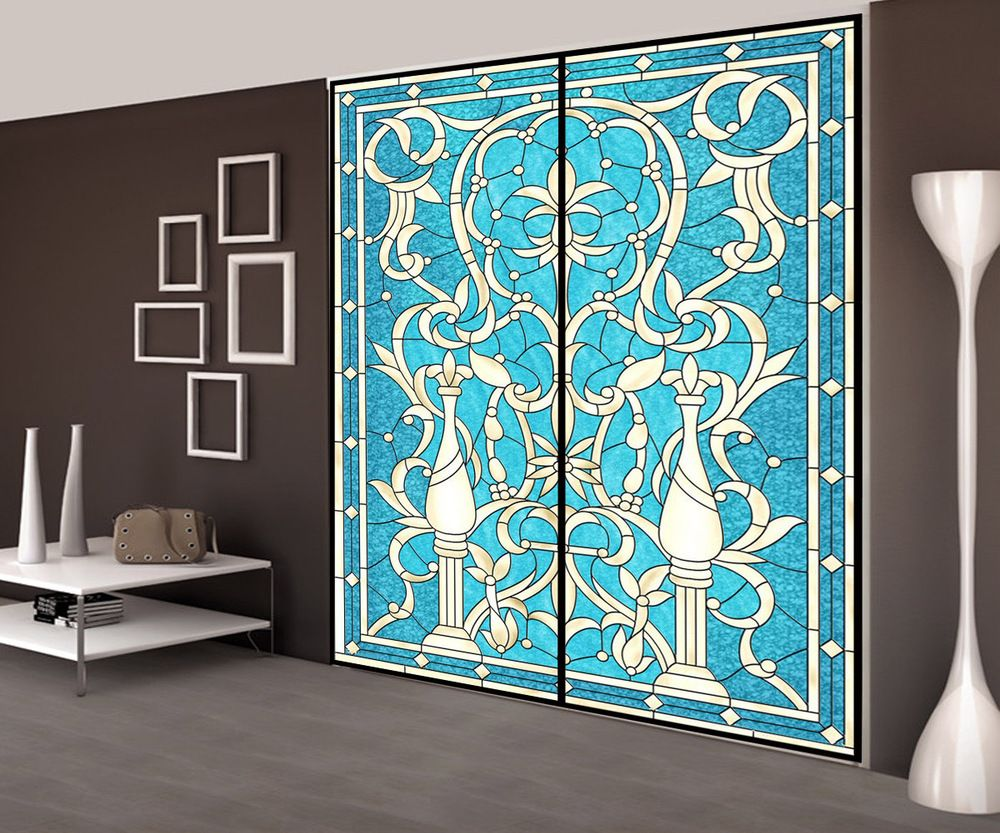 Decorative self adhesive/static cling stained window film European ...
