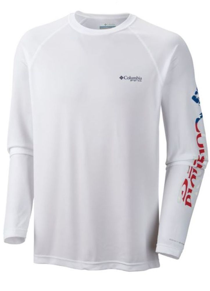 Terminal Tackle LS Shirt in White/Stars & Stripes by Columbia - Columbia  Mens