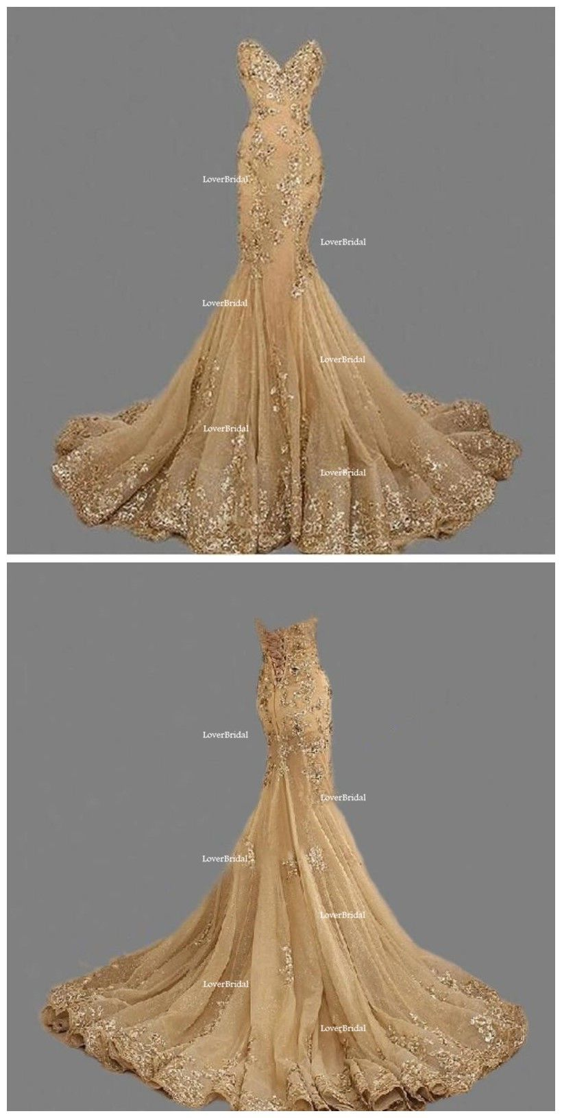 Sexy sweetheart gold lace beaded mermaid long evening prom dresses
