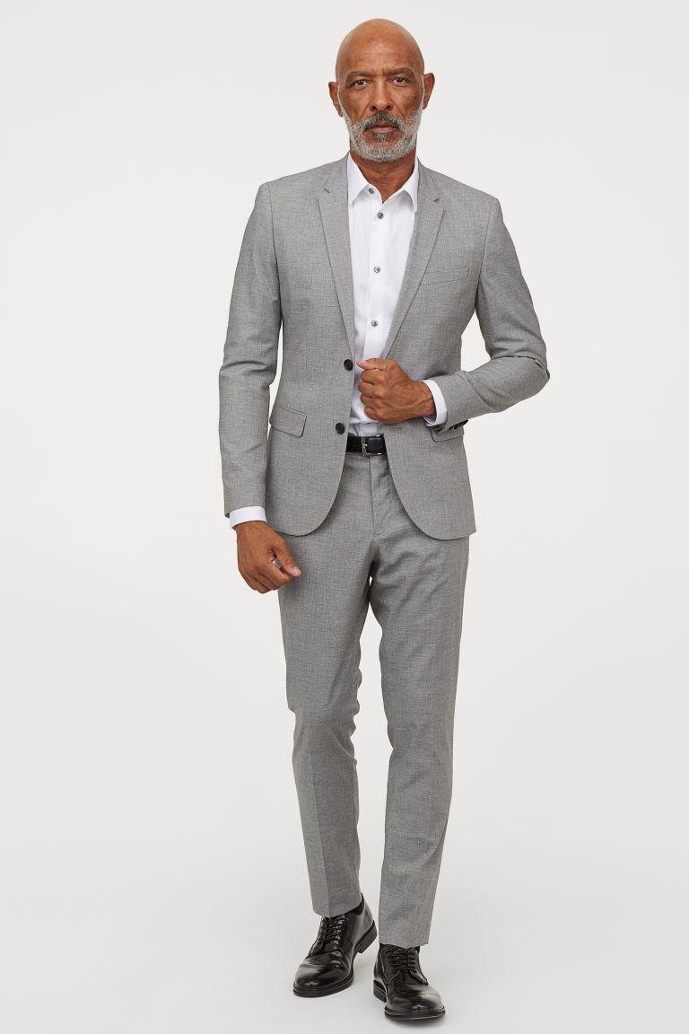 Skinny Fit Suit Pants Light Gray Melange Men H M Us Skinny Fit Suits Mens Business Casual Outfits Skinny Fit Suit Pants [ 1152 x 768 Pixel ]